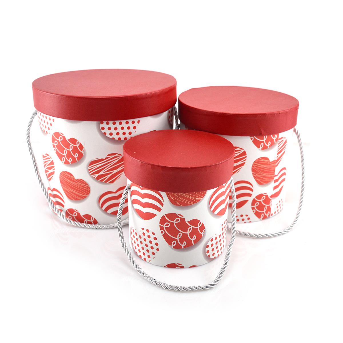 Set 3 cutii cilindrice March inimi alb rosu