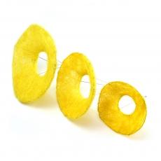 Set 3 suporti buchet din sizal galben