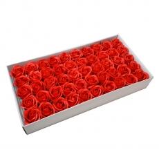 Set 50 trandafiri sapun parfumati, atingere reala, rosu calitatea I