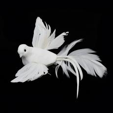 Set 12 porumbei albi cu clips si codita cod16889