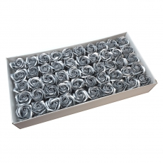 Set 50 trandafiri sapun parfumati, atingere reala, argintiu