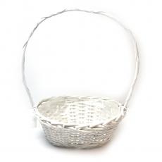 Cos oval alb toarta inalta