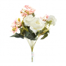 Buchet 6 Trandafiri alb cu roz