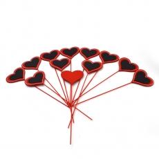 Set 12 inimioare de lemn pe bat rosu si negru
