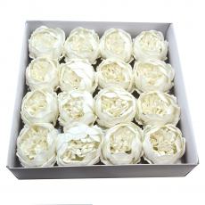 Set 16buc bujori mari de sapun parfumati atingere reala alb