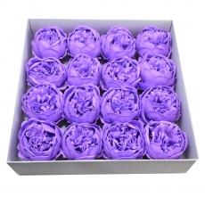 Set 16buc bujori mari de sapun parfumati atingere reala lila