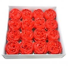 Set 16buc bujori mari de sapun parfumati atingere reala rosu