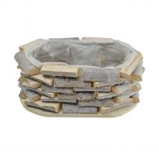 Cos oval din lemne natur 27069