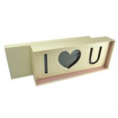 Cutie dreptunghiulara I LOVE U cu burete crem