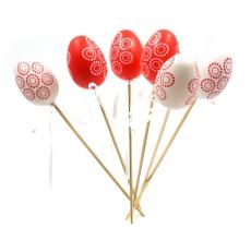 Set 6 oua decor pe bat 6cm model rosu alb