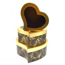 Set 3 cutii inima curbe auriu negru