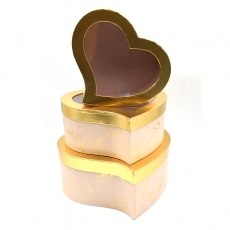 Set 3 cutii inima curbe auriu roz