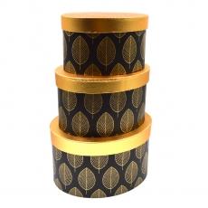 Set 3 cutii ovale leaf negru