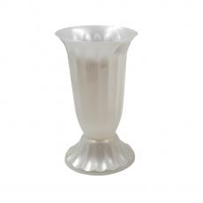 Vaza plastic mica 14x24 cm alb perlat