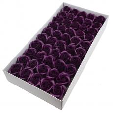 Set 50 trandafiri sapun parfumati, atingere reala, marsalla inchis