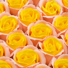 Set 50 trandafiri sapun parfumati, atingere reala, DUO, somon-galben