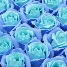 Set 50 trandafiri sapun parfumati, atingere reala, DUO, bleo-turqoise
