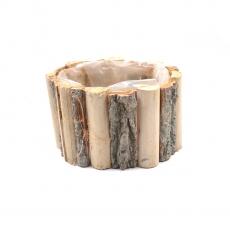 Cos oval inalt din lemn si scoarta cu punga in interior