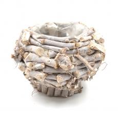 Cos tip ghiveci din lemne natur cu suport