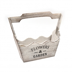 Cos tip jardiniera cu maner din lemn FLOWERS GARDEN