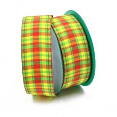Rola Textila 4cm Carouri verde/galben/rosu