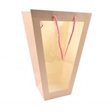 Punga cadou conica roz cu fata transparenta