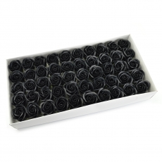 Set 50 trandafiri sapun parfumati, atingere reala, negru