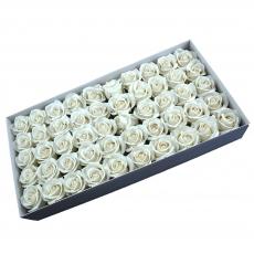 Set 50 trandafiri sapun parfumati, atingere reala,  alb