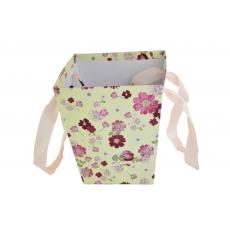 Cutie Carton Tip Sacosa Crem cu Floricele