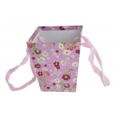 Cutie Carton Tip Sacosa Roz cu Floricele