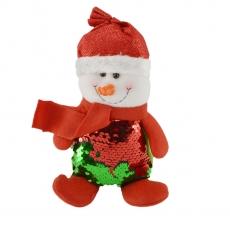 Figurina ornament textil Omuletul zambaret cu paiete 24cm