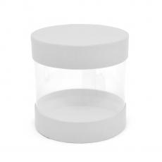 Mini cutie cilindrica transparent alb cod 21-6