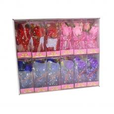 Set 12 aranjamente trandafiri de sapun in sticla cu led