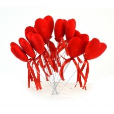 Set 12 inimioare catifelate pe sarma mari