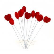 Set 12 inimioare catifelate pe sarma mici