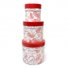 Set 3 cutii alb rosu Heart sketch
