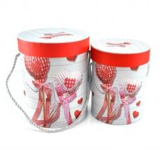 Set 2 cutii cilindrice doll inimi alb rosu
