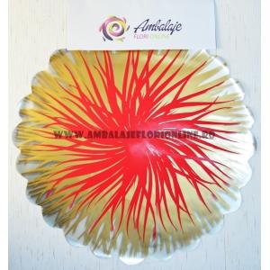 Ambalaje Flori ONLINE vinde Celofan rotund flacari auriu cu rosu la pretul de 22.99 lei