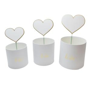 Set 3 cutii WITH LOVE cu ornament inima alb