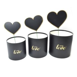 Set 3 cutii WITH LOVE cu ornament inima negru