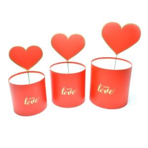 Set 3 cutii WITH LOVE cu ornament inima rosii