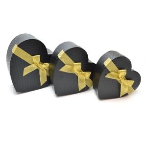 Set 3 cutii inima cu funda aurie negru carbon