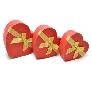 Set 3 cutii inima cu funda aurie rosu sidef
