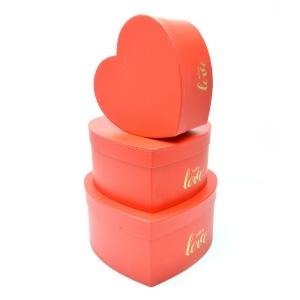 Set 3 cutii inima mare WITH LOVE rosu