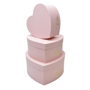 Set 3 cutii inima mare WITH LOVE roz