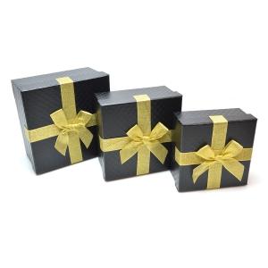 Set 3 cutii patrate medii funda aurie negru carbon