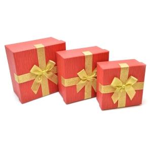 Set 3 cutii patrate medii funda aurie rosu sidef