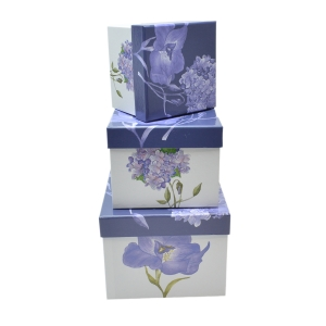 Set 3 cutii patrate mici Iris hortensie