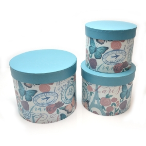 Set 3 cutii rotunde Parisienne turquoise alb