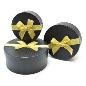 Set 3 cutii rotunde funda aurie negru carbon